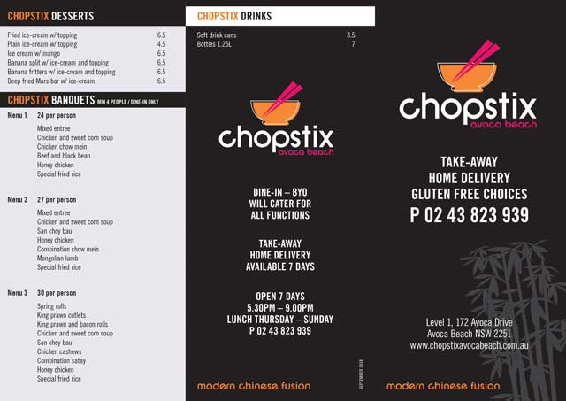 Chopstix Avoca Beach Takeaway Menu